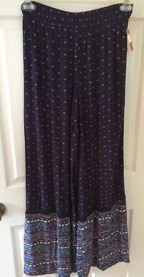 Mossimo Relaxed Fit Elastic Pant Flowy NEW Boho Chic Size M Medium Wide Leg