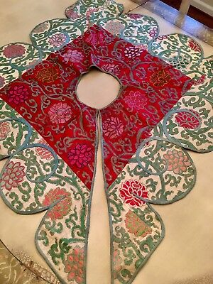 Antique Asian (Chinese?) Silk Collar ~ Bold Colors, Embroidered & Oversized