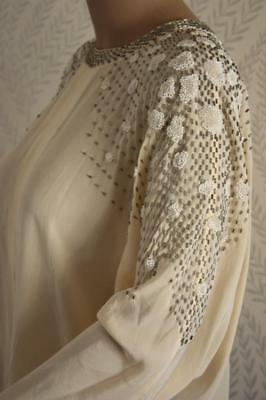 Striking Vintage 60s Ivory Silk Beaded Blouse White Silver Cloth Cover Snaps Top
