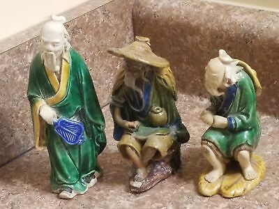Vintage LOT of 3 Oriental Chinese Mudmen Clay Figurines - Need Repairs