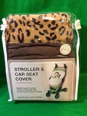 Seed Sprout Baby Infant Car Seat Stroller Cover Blanket Leopard Brown Warm