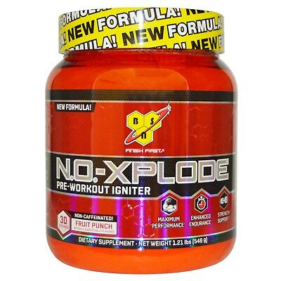 BSN NO Xplode 30 Servings Fruit Punch Flavor NON-CAFFEINATED N.O. Xplode