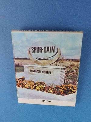 Shur Gain Farm Animal Food 1972 Plowing Match Perth Sebring Ont Matchbook