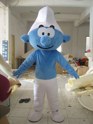 Party NEW Smurf of The Smurfs Mascot Costume Dress Mascot Fancy Adult Size