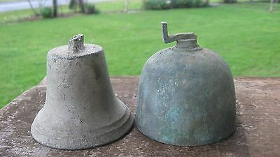 Antique Bronze Cow Bell Called A Cup Bell + Another Brass Bell