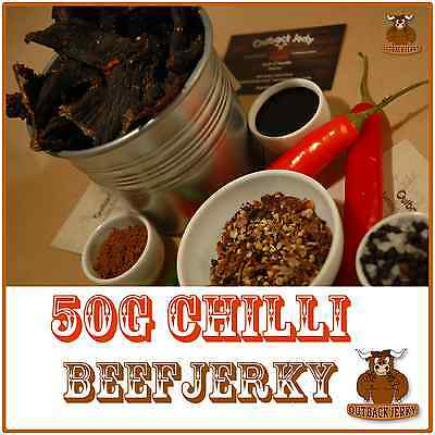 BEEF JERKY CHILLI 50G Hi PROTEIN LOW CARBOHYDRATE DIET PRESERVATIVE FREE SNACK