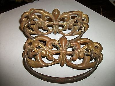 Pair of Antique Ornate Brass Dresser Drawer Pulls Handles
