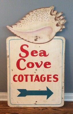 Vintage Original  1950's SEA COVE COTTAGES Hand Painted Sign Wood Cottage Rental