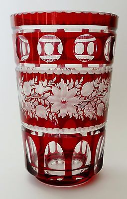 Gorgeous ANTIQUE vintage RUBY cut to clear GLASS VASE BOHEMIAN CZECH rare SIGNED