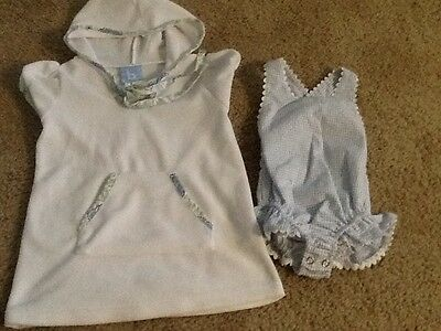 Bella Bliss Infant Girls Seersucker Bathing Suit With Hooded Cover Up, Sz,6 Mth