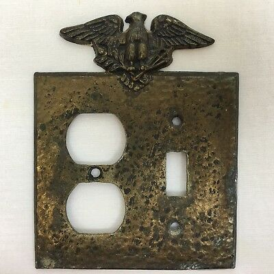 Vintage Brass / Bronze Hammered Design Eagle On Top ~ Switch Plate Cover
