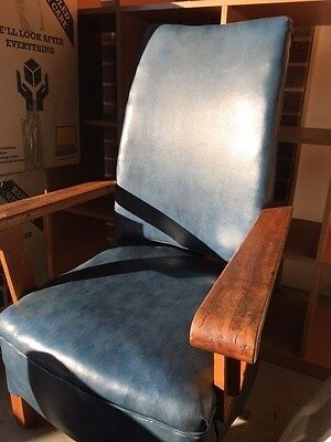Antique Blue Leather Timber Rocking Chair