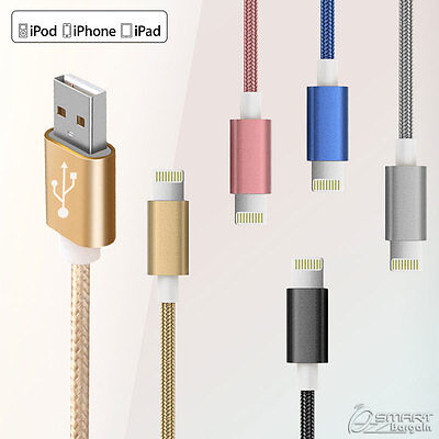 2M New Fiber USB Data Sync Charger Cable For iPhone iPod iPad Lightning Cable