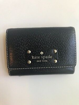 Kate Spade Black Leather Mini Card/Coin Holder Key Chain Wallet