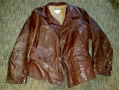 Vtg 30's CALIFORNIA SPORTSWEAR Belt Back Leather Biker Jacket