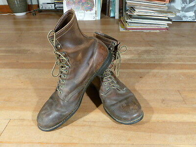 Vintage 1960s Brown Chippewa Lace Up Work/Biker Leather Boots Size Men's 13D