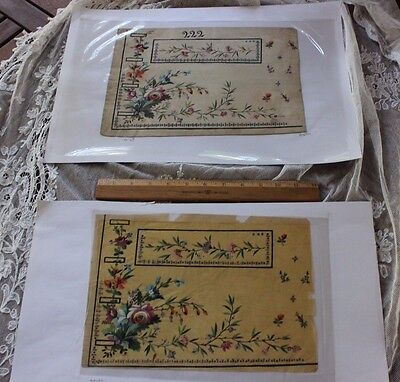 2 Antique French H.P. Gouache Embroidery Designs On Paper For Menswear Vestc1780