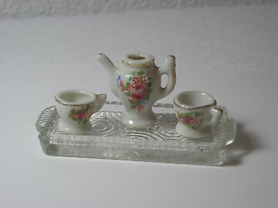 Vintage Miniature Tea Set for Two w/ min.Glass Tray - Made in Japan (0316)