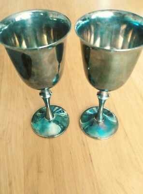 Silver Plated EP Brass Wine Goblets made in Spain