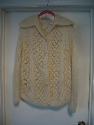 Vintage Wool & Mohair Sweater Made in Italy Ivory Open Weave Knit Large Soft