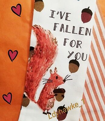 2 Adorable Squirrel I've Fallen For You  Kitchen Towels NWT Fall Acorns Stripe