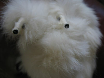 Vintage White Fur Collar with 2 faux Fox Heads & Tails Retro W/Clip Stole