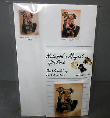 New Airedale Terrier Dog List Pad Note Pad & Magnet Set By Ruth Maystead Dogs
