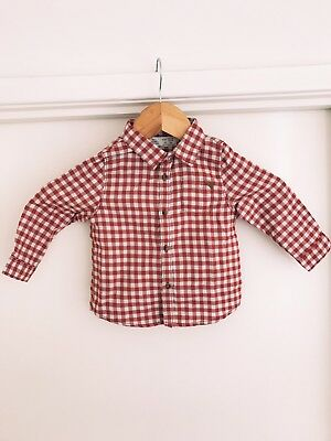ZARA Baby Boy Shirt - Red Checked Button Up Size: 12-18months - Never Worn