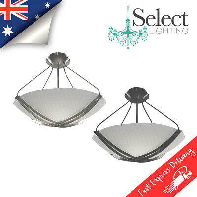 Arielle, Close to Ceiling, Oyster, Pendant Light. Black or Satin Chrome ON SALE!