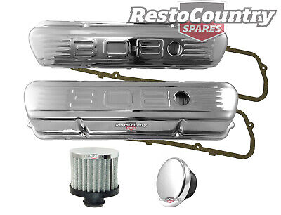 Holden V8 '308' Chrome Rocker Covers + Gaskets + Breather + Cap Set Std Height