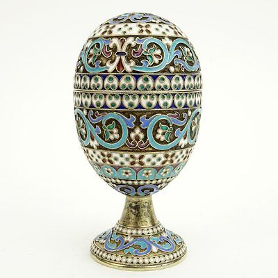 20th Century Russian 84 Silver and Cloisonne Enamel