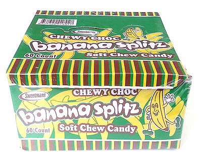 60 x Sweetmans Chewy Choc Banana Splitz Soft Chew Candy
