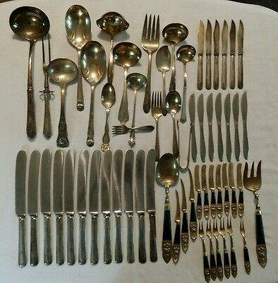 Lot 1847 Rogers Sheffield Stegor Silverplate Flatware Silverware Stainless 60 Pc