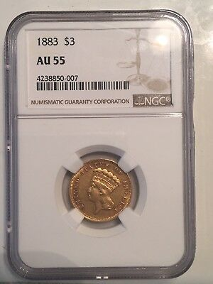 1883 $3 NGC AU55 RARE Gold Three Dollar Princess Only 900 Minted PQ
