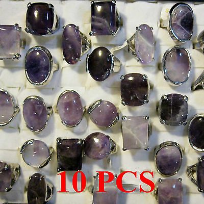 Wholesale Bulk Lots 10 PCS Lavender Purple Crystal Jewelry Fashion Silver Rings