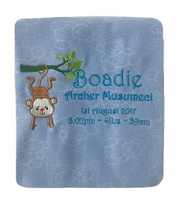 Cute Little Monkey Personalised Embroidered Fleece Baby Blanket