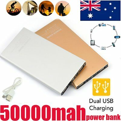 PORTABLE POWER BANK BATTERY 50000mah SLIM For IPHONE SAMSUNG 2-USB