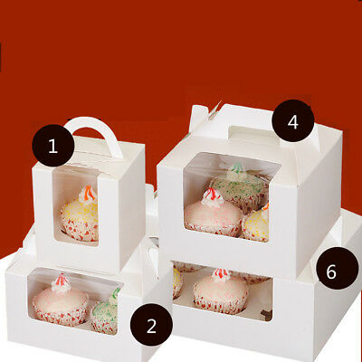 Paper Muffin Cupcake Boxes With Handle Baby Shower Cake Packing Gift Case White