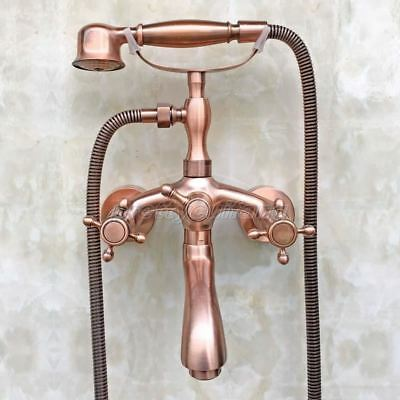 Antique Red Copper Bathroom Tub Faucet Sink Mixer Tap Hand Shower Ptf801