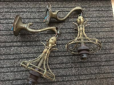 Vintage antique original Art Nouveau French style brass wall light fittings X 2