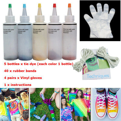 5 Bottle Tie Dye Kit + 40 Rubber Bands + 4 pairs Vinyl gloves + Instructions Set