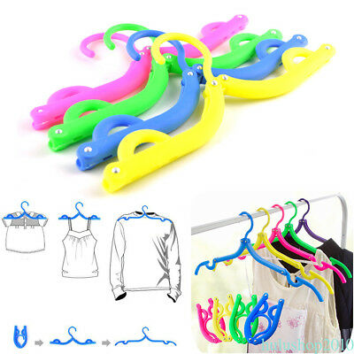 4 Pcs Coat Hanger Rack Portable Folding Hanger Foldable Plastic For Travel KR1