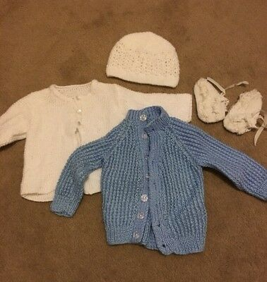 Hand Knitted Baby Boy Girl Unisex Wool Cardigans Hat Booties White Blue 3-6mo 00