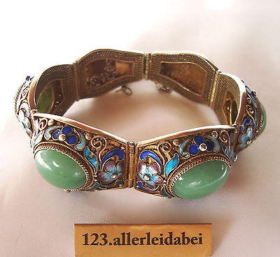 altes China Emaille Jade Armband Silber Emaile old bracelet / AX 118