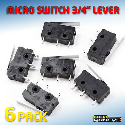 6 X RadioShack SPDT Micro Sub-Mini Lever Switch 5A #2750016 BULK PACK NEW