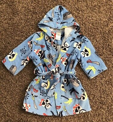 St. Eve Boys Swim Hooded Terry Towel Robe Beach Cover-Up Skull Pirate XS 3/4