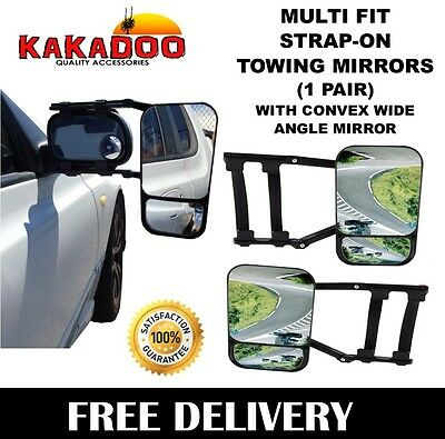 Towing Mirrors Pair Heavy Duty Multi Fit Strap On Towing Caravan 4X4 Trailer