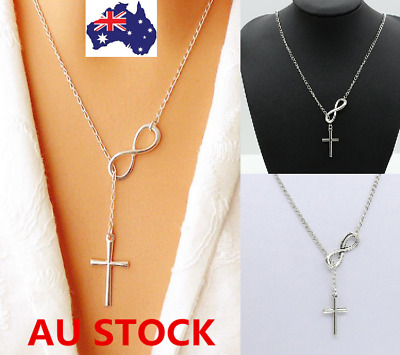 AU Women Fashion Sliver Plated Cross Pendant Long Chain Charm Necklace Jewelry
