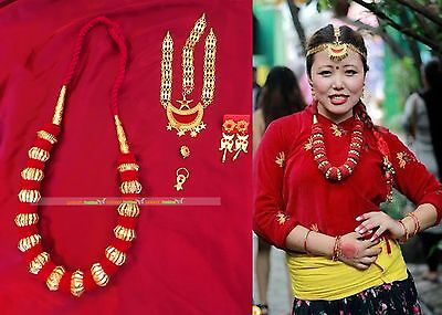 Gold plated nepali limbu jewellery set Ethnic Bridal Wear Necklace Jewelry4