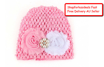Baby Pink Beanie Newborn Winter Flower Knitted Hat Infant Toddler Comfy Soft New